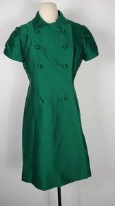 1960s Dorothy Bullitt Green Silk Dress Suit